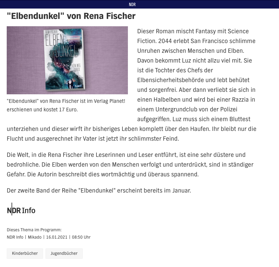 Elbendunkel in den Buchempfehlungen von NDR Kultur
